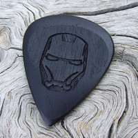 Wood Guitar Pick - Laser Engraved - Handmade African Blackwood Premium Guitar Pick - Iron Man