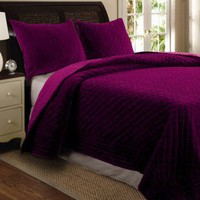 Greenland Home Fashions Bohemian Velvet Quilt Set in Amethyst - GL-1004D - Quilts &amp; Coverlets - Bed &amp; Bath