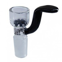 Black Leaf - Glass Slide Bowl with Built-In Black Glass Disc Screen - Without Carb Hole - Glass Bongs - Bongs and Waterpipes - Smoking Pipes - Grasscity.com