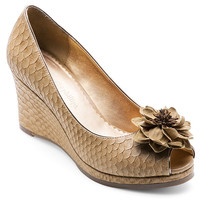 Courtney Peep Toe Wedge Tan Python