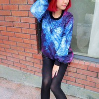 Star tie-dye marine gradient loose pullover sweater