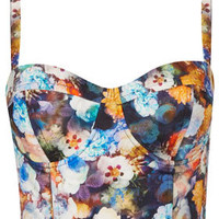 Multi Flower Print Corset - Tops  - Clothing