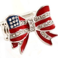 Go USA American Flag Ribbon Fashion Ring - Team USA Ribbon Ring