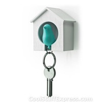Sparrow Bird house Key Holder Blue