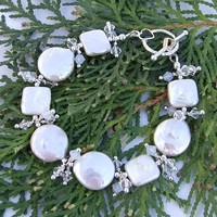 Pearl Wedding Bracelet Handmade Swarovkski Bride Heart Jewelry OOAK