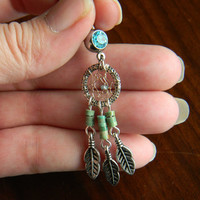 Southwestern Dream Catcher Belly Ring With Caribbean Blue Diamond Nugget in The Native Inspired Southwestern Tribal Boho Hippi Hipster Style