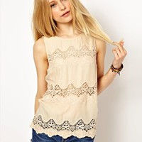 River Island Crochet Shell Top at asos.com
