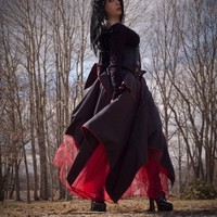 Red and black gothic Asymmetrical skirt long -- You choose Size -- Sisters of the Moon | SistersOftheMoon - Clothing on ArtFire