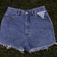 White Studded High Waisted Shorts