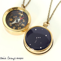 Working Compass Necklace with Personalized Constellation, Custom Zodiac Choose your Constellation, Long Brass Chain - Made to Order