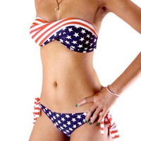 SakuraShop  Union Jack Style Stars Bikini Swimsuit
