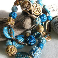 Blue Sand and Surf Beach Necklace | DesertWindDesigns - Jewelry on ArtFire
