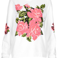 Embroidered Floral Sweat - Jersey Tops - Clothing - Topshop USA