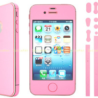 Color Full Body Screen Protector Case Cover Film Skin For Apple iPhone 4S Pink