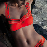 Nicole Olivier 2012: High Tech Separates Swimwear Square Neck Top SEDUISANT, Hipster Bottom SEGOVIE