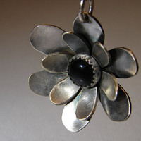 Flower Pendant Handmade from Sterling Silver with Genuine Black Onyx Stone