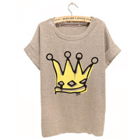 Big Royal Crown Watercolor Tshirt For Women