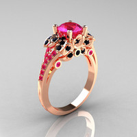 Classic 14K Rose Gold 1.0 CT Pink Sapphire Black Diamond Blazer Wedding Ring R203-14KRGBDPS