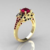 Classic 14K Yellow Gold 1.0 CT Red Garnet Black Diamond Blazer Wedding Ring R203-14KYGBDRG
