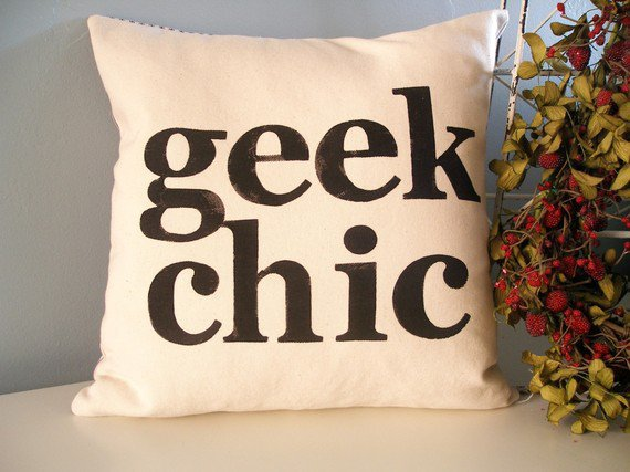 Geek Chic Hand Stamped Pillow Cover by JoshuaByOak on Etsy