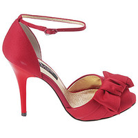 Women's Nina  Electra Red Satin Shoes.com