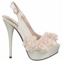Women's Allure Bridals  Glass Ivory Satin Shoes.com
