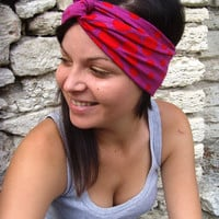 10% discount with coupon code cvetinka10 TURBAN Red And Purple Polka Dots Twisted HeadBand Turban Stretchy Hair Covering Ear Warmer