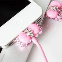 Pink Rhinestone Bow USB Cable Cord (1M) & USB Power Charger For Iphone 4/4s