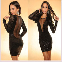 Backless Sequined Dress &Deep V