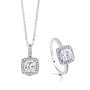 Cushion Cut Clear Cubic Zirconia CZ 925 Sterling Silver Halo Pendant necklace And Ring Matching 2 Pc Set #vs227