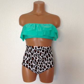 cheetah ruffle  retro swimsuit