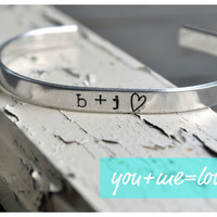 YOU and ME equals LOVE Handstamped by jessicaNdesigns on Etsy