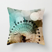 Throw Pillow Cover Pastel bokeh blue Ferris Wheel photo