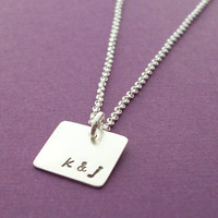 Simple Square Necklace EWD Personalized by EclecticWendyDesigns
