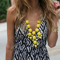 Spring Summer Sunshine Yellow Bubble Necklace. Statement Necklace