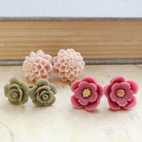 Flower Stud Earrings Spring Jewelry Surgical Steel Post Pink Dahlia Floral Green Cabochon Tiny Green Rose Vintage Style Three pairs