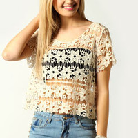 Cara Crochet Flower Crop Tee