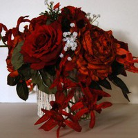 Orange and Red Roses with Spray Orchids Silk Floral Arrangement