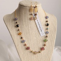 Handmade Lampwork Rose Bead Necklace and Earring Set- 16 1/2 - 17 1/2 inches long | peaceloveandallthingsjewelry - Jewelry on ArtFire