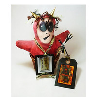 Folk Art Halloween, Hell In A Handbasket, Primitive Devil Art Doll, Collectible Gothic Dark Art, One of a Kind
