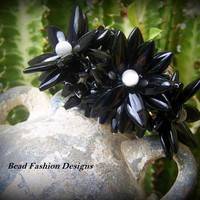 Black Stone and Grey Cat&#x27;s Eye Flower Cuff Bracelet.
