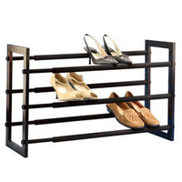 Walnut 3-Tier Grippy Shoe Rack