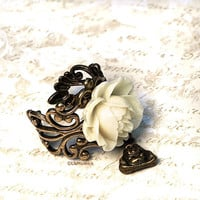 Buddha Flower Ring. Adjustable. Charm Ring. Ivory Rose Ring
