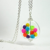 "Hand Blown Glass Bead with Colorful Pom Poms ""Gumball Necklace"" Silver Finish"