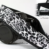 White Leopard dSLR Camera Strap, Pocket, Grey, Black, Spotted, Cat, SLR