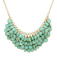 Floating Acrylic BIB Statement Party Ball Fashion Necklace (Jcn19)- Turquoise