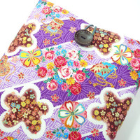 Pretty Macbook 11 Sleeves, Unique Gift For Her, Handmade Laptop Covers, Japanese Kimono Cotton Fabric Cherry Blossoms Purple