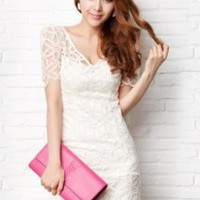 V-neck Lace Hollow Dress - Designer Shoes|Bqueenshoes.com