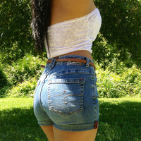 Medium Wash Denim High Waist Shorts by AdoreLife on Etsy