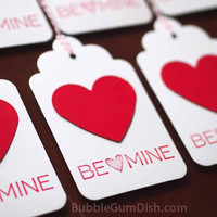 Red Paper Heart Valentine&#x27;s Day Gift Tags Hang Tags Set of 6 3x5 Large